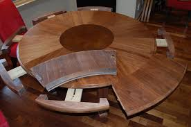 wooden round expandable dining table