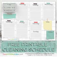 Free Printable Cleaning Schedule Template Free Printables