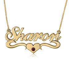 double thickness birthstone heart swoosh name necklace 24k gold plated namefactory