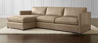 dryden 2 piece leather sectional with nailheads crate