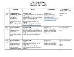 Microsoft Office Curriculum Curriculum Map 6th Grade Technology Teacher Ms Oswald