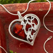gift of the heart dark red amber heart necklace