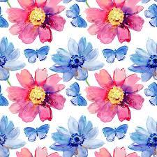 Behang Met Blauwe En Roze Bloemen En Vlinders Stockfoto Olies