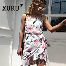 <b>XURU Summer New Women'S</b> Print Chiffon Dress Sexy Beach ...