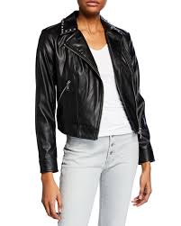 michael michael kors studded faux leather moto jacket in black