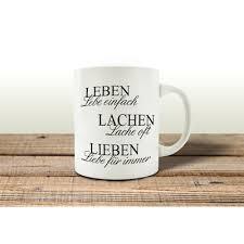 Tasse Kaffeebecher Leben Lachen Lieben Geschenk Spruch Motiv Shabby