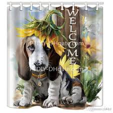 animal dog shower curtains with hooks sunflower on basset hound dog head with welcome bathroom curtains shower curtains big lots shower curtains