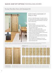 quick ship kit option for rolling doors knotty pine barn door with hardware kit barn