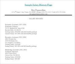 9 Sample Salary History Templates Free Word Pdf Documents