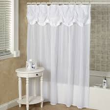 fancy shower curtains with valance and ruffled double swag shower curtain with valance tie backs white