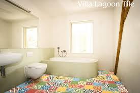 patchwork cement tile bathroom floor