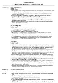 Therapist Resume Samples Velvet Jobs