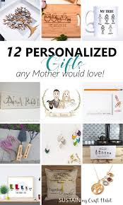collage of custom handmade gift ideas found on etsy including mugs family tree art