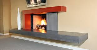 awesome concrete fireplace on custom wood grain fireplace surround ...