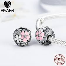 Genuine 925 Sterling Silver Stopper <b>Poetic Blooms</b>, Pink CZ Clip ...