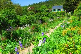 monet garden giverny flower row with house