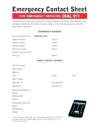 Emergency Contact Numbers Template List Call Out Down Emerg