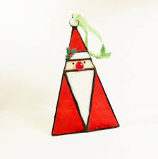 stained glass santa ornament suncatcher winter santa ornaments glass ornaments