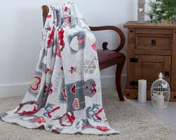 plush fleece festive home sweet home throw 130cm x 180cm