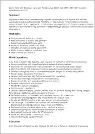 Resume Templates: Mechanical Commissioning Engineer