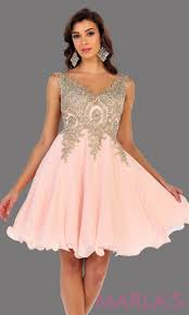 Light Pink Graduation Dress Short Flowy Blush Dress With Gold Lace Detail On The Bodice