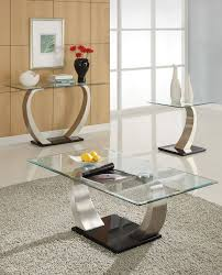 coffee table glass top modern metal base coffee table with console table and end table