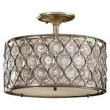 Bohemian lighting Mediterranean Lucia 3light Burnished Silver Semiflush Mount The Home Depot Bohemian Flush Mount Lights Lighting The Home Depot