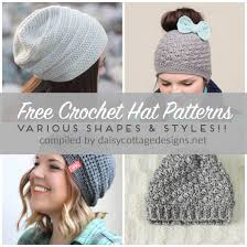 Crochet Patterns Hats Simple Free Crochet Hat Patterns Daisy Cottage Designs
