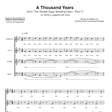 A Thousand Years Sheet Music A Thousand Years Christina Perri For Satb A Cappella Sheet Music