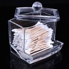 SAGUARO Clear Acrylic Makeup Cotton Ball Swabs Q-tips Holder Organizer  Cosmetic Makeup Storage Box Case Beauty Container: Amazon.co.uk: Kitchen &  Home