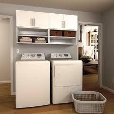 w white open shelves laundry cabinet kit