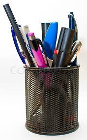 Colored pen and pencil in office pot, isolated on white background | Stock  Photo | Colourbox