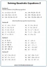 quadratic equations worksheet pdf