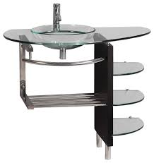 wall mount tempered glass vessel sink and shelf set 39