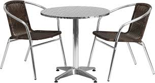 Fold In Half Round Table 275 Round Aluminum Indoor Outdoor Table With 2 Dark Brown Rattan