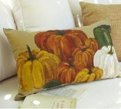 Pottery Barn Painted Indoor Outdoor Pumpkin Pillow Autumn Fall   EBay