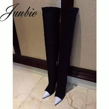 junbie new stretch genuine leather slip on women boots y pointed toe over the knee high