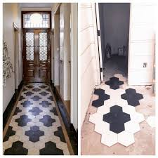 black/navy and white hexagon tile entryway floor