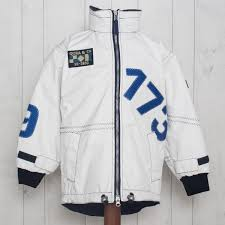 X 10 Kids Technical Jacket In White With Blue 173