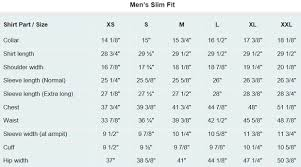 Size Chart For Mens Dress Shirt Slim Fit Costume Shirts