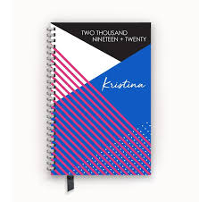 2019 2020 Planner Personalized Agenda Calendar With Modern Colorblock Cover Design