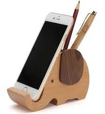 Wooden Elephant Pencil Holder Desk Organizer Phone Stand Holder