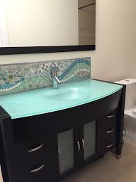 diy bathroom sink backsplash ideas. love this cabinet and the frosted glass countertop! (mosaic backsplash by helle rasmussen) diy bathroom sink ideas h