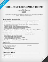 Concierge Resume Sample 2016 Experience Resumes