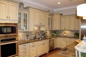 subway tile backsplash with off white cabinets lovely 27 antique white kitchen cabinets amazing s
