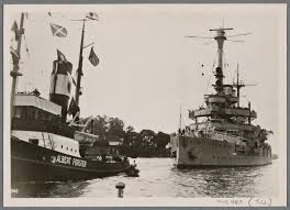 """To the great joy of the people of Danzig, the German navy school ship  """"Schleswig-Holstein"""" was brought into the city's harbor by the high seas  tugs """"Albert Forster"""" and """"Danzig"""". - NYPL"""