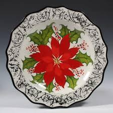 <b>UNDERGLAZED</b> POINSETTIA PLATE - MAYCO <b>COLORS</b> | <b>Ceramic</b> ...