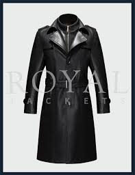 mens winter leather long jacket trench coat