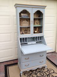interesting secretary desk with hutch furnishing your home interior decor chic light blue wooden staining