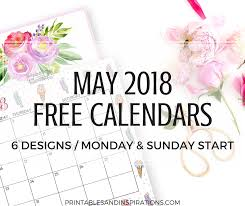 Calendar Free Downloads Cute May 2018 Calendar 6 Free Printable Monthly Planners